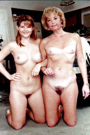 Cute mother daughter topless