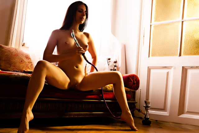 Hot naked shaved chicks smoking weed pussy